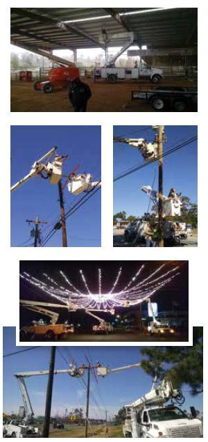 A collage of photos showing the electric crew working on power poles