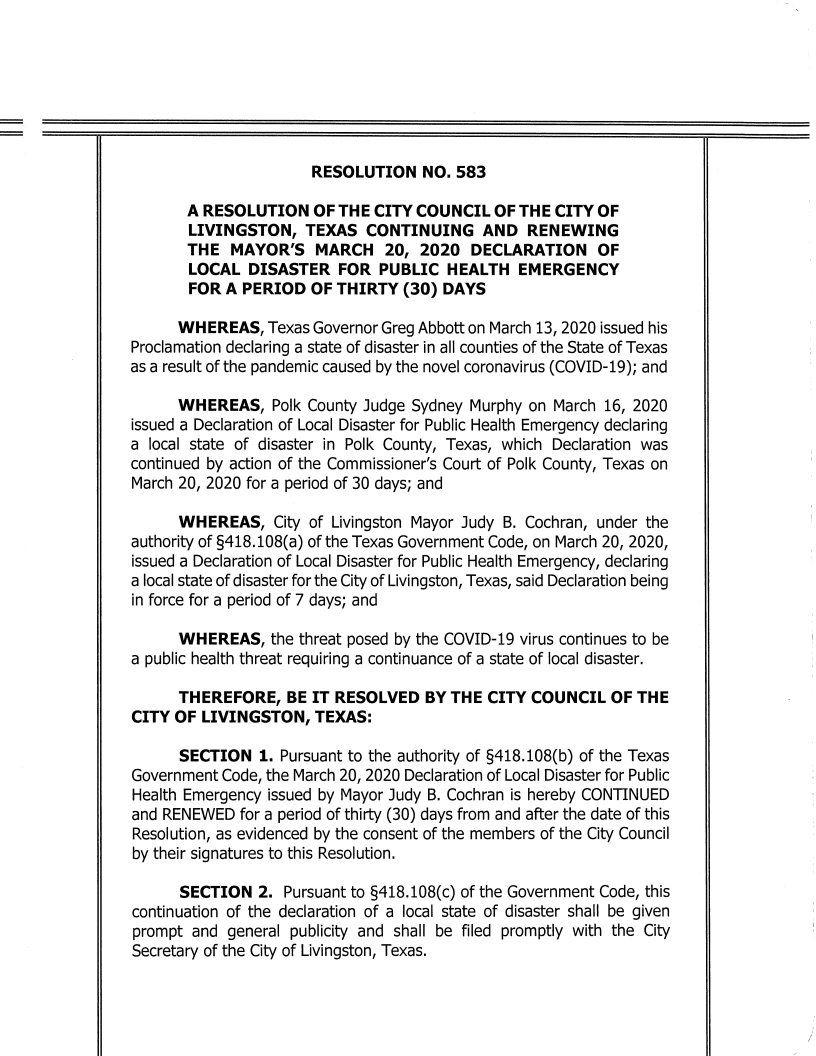 City of Livingston Texas Resolution No. 583 Continuing and Renewing Declaration of Local Disaster 3-